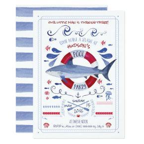 Shark Birthday Pool Party Invitation