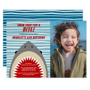 Shark Bite Any Age Birthday Photo Invitation