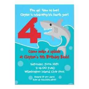 Shark Bite Invite- 4th Birthday Party Card