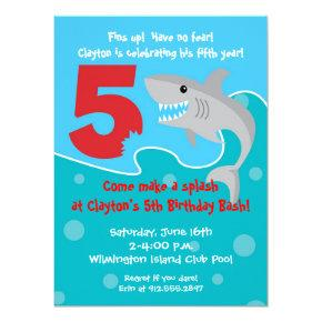 Shark Bite Invite- 5th Birthday Party Invitation