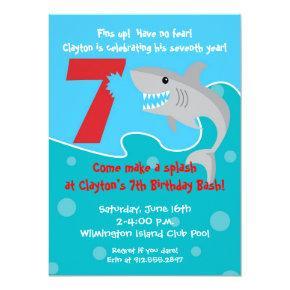 Shark Bite Invite- 7th Birthday Party Card