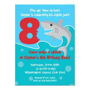 Shark Bite Invite- 8th Birthday Party Invitations
