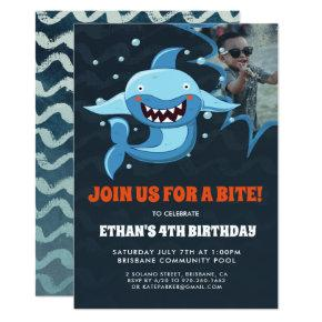 Shark Bite | Photo Birthday Party Invitation