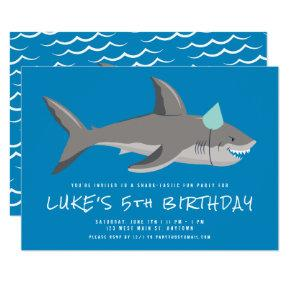 Shark Blue Underwater Kids Birthday Party Invitation