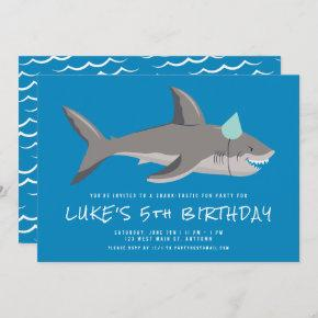 Shark Blue Underwater Kids Birthday Party Invitation