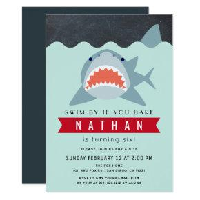 Shark Boy Navy Blue Pool Birthday Invitation
