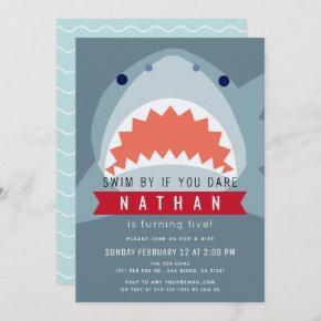 Shark Boy Slate Blue Pool Birthday Invitation