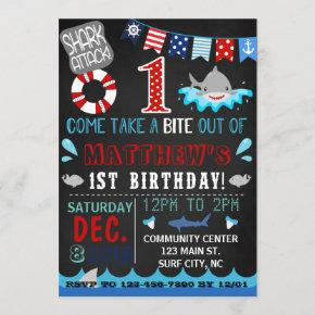 shark first birthday invitation