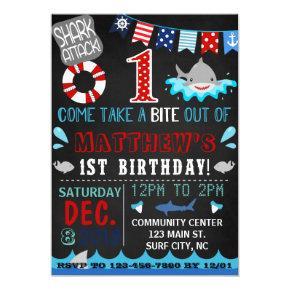 shark first birthday Invitations