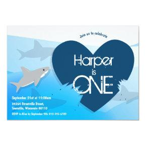 Shark First Birthday Party Invitations
