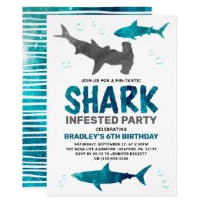 Shark Infested Any Age Birthday Party Invitation
