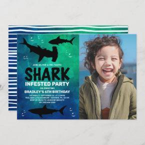 Shark Infested Any Age Photo Birthday Party Invitation