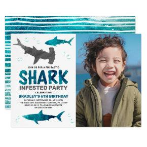 Shark Infested Any Age Photo Birthday Party Invitation
