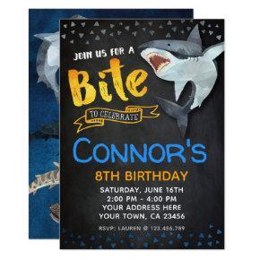 Shark Invitations, Pool Birthday Party, Chalkboard Invitations