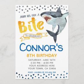 Shark Invitation, Pool Birthday Party Invitation