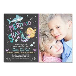 Shark or Mermaid birthday Invitations Joint Bday