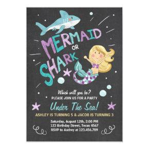 Shark or Mermaid birthday Invitations Joint Bday