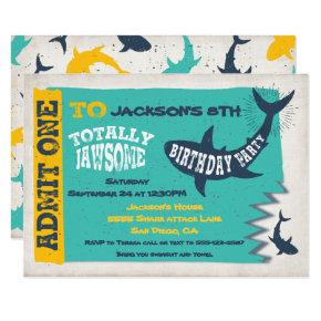 Shark Pool Birthday Party Invitation Ticket
