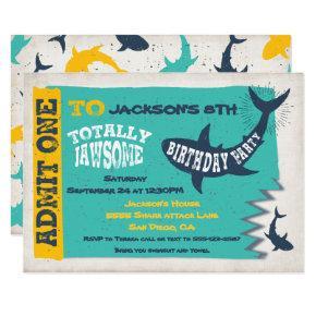 Shark Pool Birthday Party Invitation Ticket