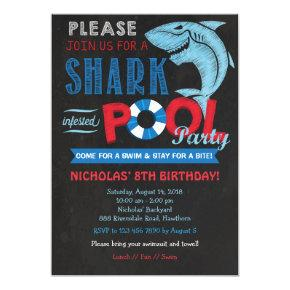 Shark Pool Party Invitations, Shark Invitations