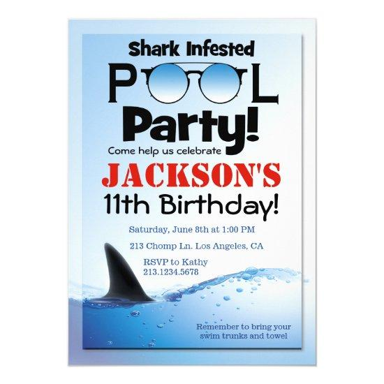 shark pool party swimming birthday invitations candied clouds