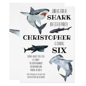 Shark Pool Swimming Birthday Party Invitation