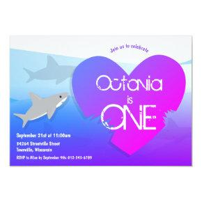 Shark Purple Pink First Birthday Party Invitations