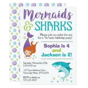 Sharks and Mermaids Birthday Invitations