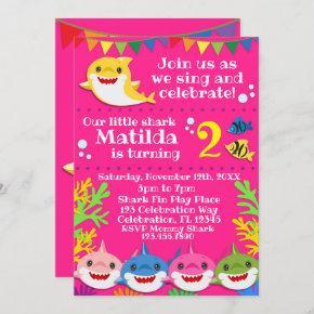 Sharks Pink Birthday Invitation