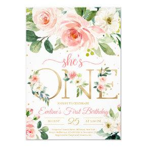 She is ONE bohemian floral girl first birthday Invitation