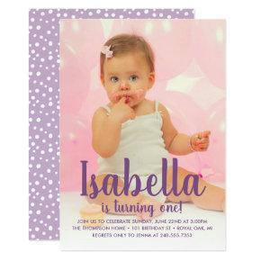 She's Turning One | Purple 1st Birthday Invitation