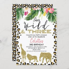 She's Wild And Three Safari 3rd Birthday Invitation