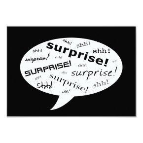 SHH! it's a surprise party! : comic speech bubble Invitation