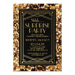 Shh Surprise 1920s Great Gatsby Birthday Party Invitation
