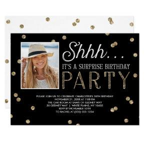 Shh Surprise Bday Party Glitter Photo Invitations