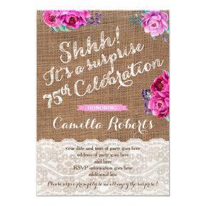 Shhh! Surprise 75th Birthday Invite , female