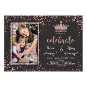 Sibling Sister PRINCESS Joint Glam Birthday Party Invitation