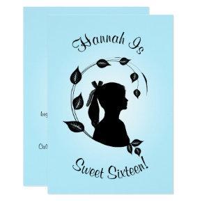 Silhouette Sweet 16th Birthday in Aqua Blue Invitation