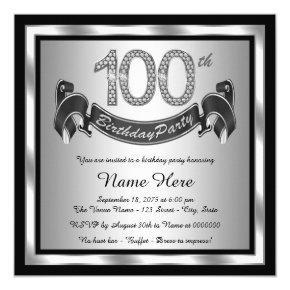 Silver 100th Birthday Party Invitation