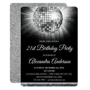 Silver 21st Birthday Party Disco Ball - 70's Party Invitations