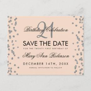 Silver 21st Birthday Save the Date Confetti Blush