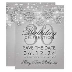 Silver 30th Birthday Save Date Winter Invitation