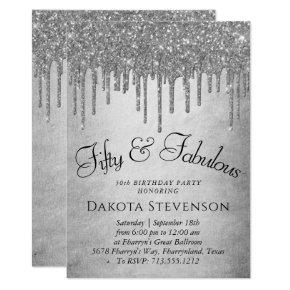 Silver 50 and Fabulous | Sparkle Drip Icing Glam Invitation