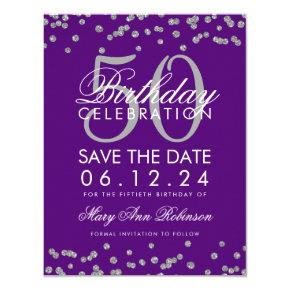 Silver 50th Birthday Save Date Confetti Purple Card