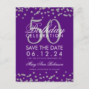 Silver 50th Birthday Save Date Confetti Purple Save The Date
