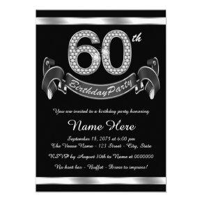 Silver 60th Birthday Party Invitation