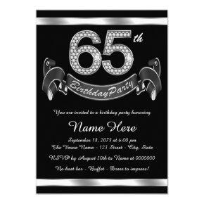 Silver 65th Birthday Party Invitation