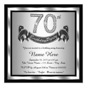 Silver 70th Birthday Party Invitations