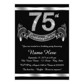 Silver 75th Birthday Party Invitations