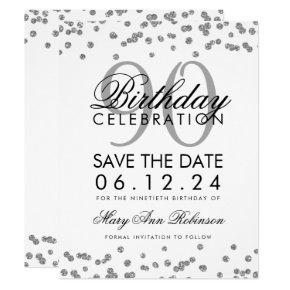 Silver 90th Birthday Save Date Confetti Invitation